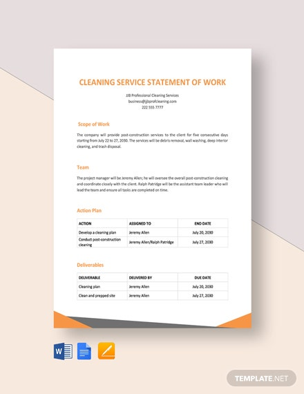 cleaning service statement of work