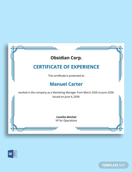 Job Experience Certificate Letter Template