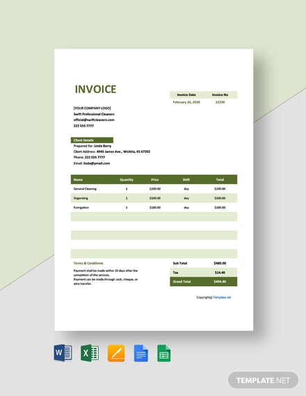 Free Invoice Template for Cleaning Service