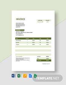 Invoice Template for Cleaning Service Template