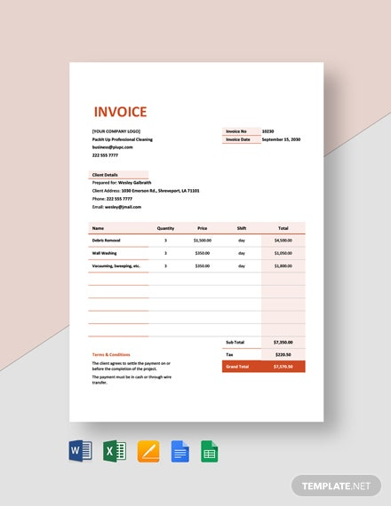 Cleaning Services Contract Agreement Invoice