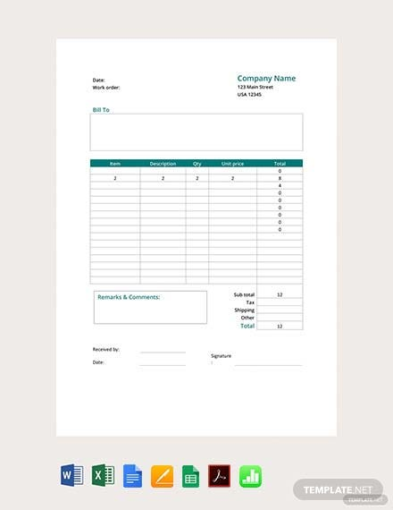 Printable Work Order Form