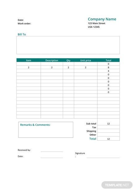 Printable Work Order Form