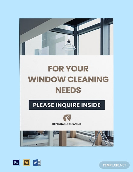 Window Cleaning Yard Sign Template