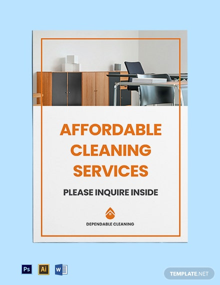 Free Cleaning Services Yard Sign Template