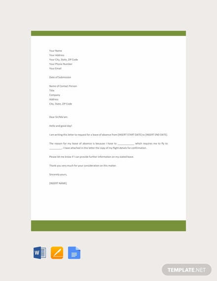 Free Leave Application Letter Template Download 700 Letters In