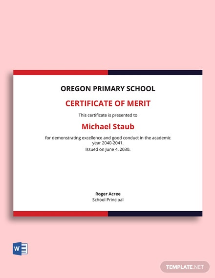 Free Recognition Of Merit Certificate Template