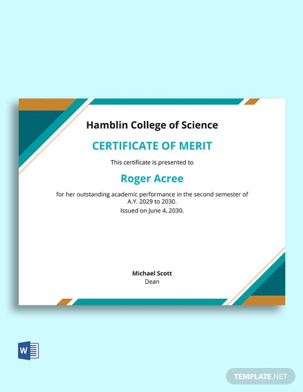 Free Merit Award Certificate Template