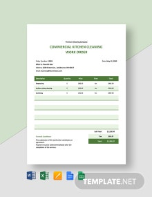 Commercial Cleaning Work Order Template