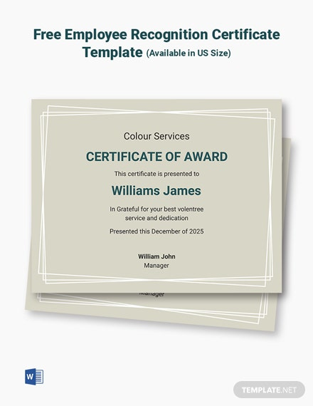 Free Volunteer Recognition Certificate Template Template