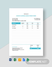Free Simple Cleaning Work Order Template