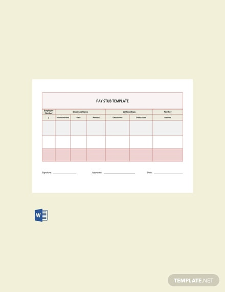 Free Pay Check Pay Stub Template