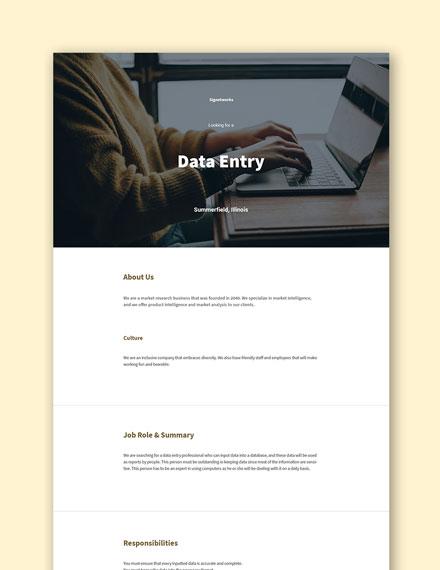 Data Entry Job Description Format Template