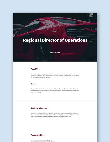 Free Regional Director of Operations Job Description Template