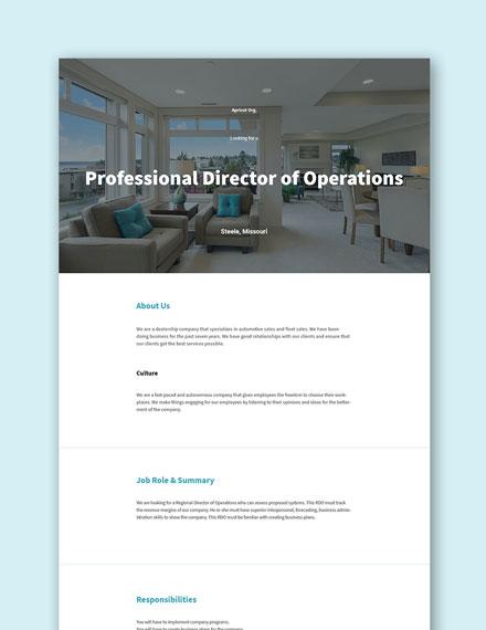 Free Director of Sales Operations Job Description Template