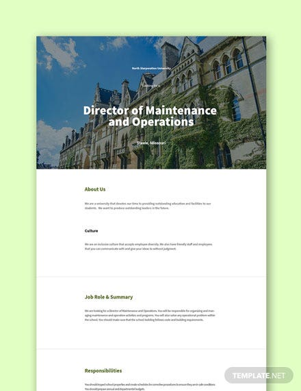 Director of Maintenance and Operations Job Description Template