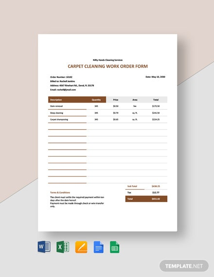 Carpet Cleaning Work Order Template