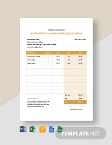 Free Residential Cleaning Work Order Template