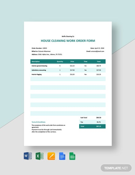 House Cleaning Work Order Form Template