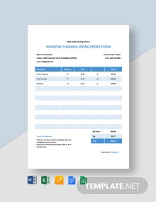Free Sample Cleaning Work Order Template