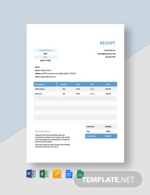 Free Cleaning Payment Receipt Template
