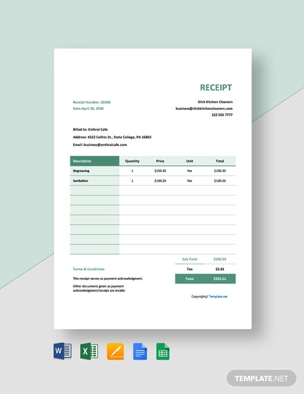 Free Blank Cleaning Service Receipt