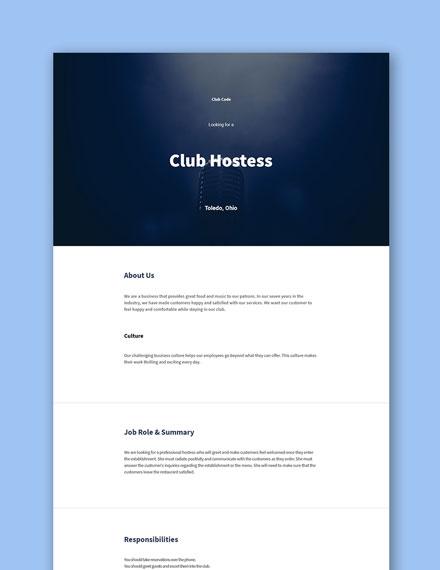 Club Hostess Job Description Template