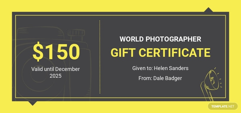 Photography School Gift Certificate Template