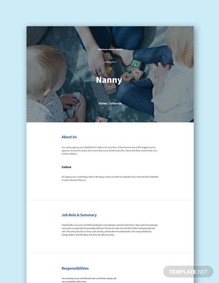 Nanny Job Description for Toddler Template