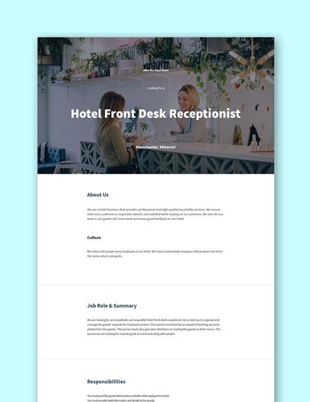 Hotel Front Desk Receptionist Job Description Template