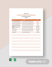 Commercial Window Cleaning Price List Template