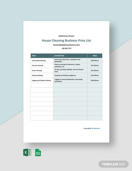Free Cleaning Business Price List