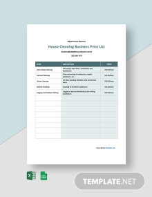 Free Cleaning Business Price List Template