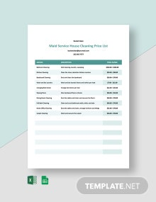 Maid Service House Cleaning Price List Template