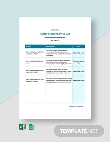 Free Office Cleaning Price List Template
