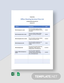 Office Cleaning Services Price List Template