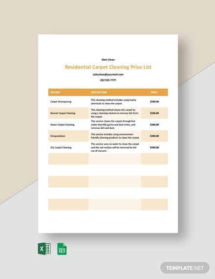 Residential Carpet Cleaning Price List Template