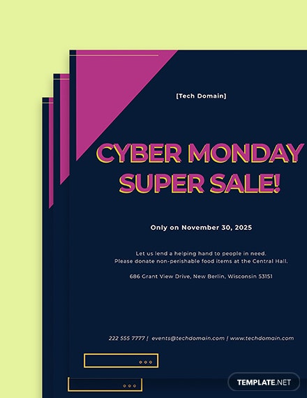 cyber monday sales event flyer template printable