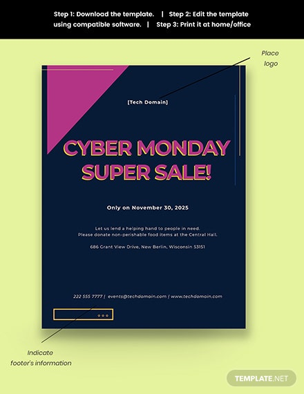 cyber monday sales event flyer template snippet