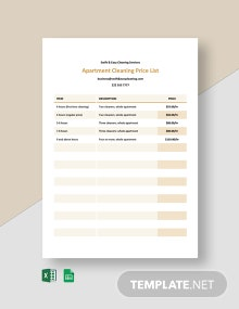 Apartment Cleaning Price List Template