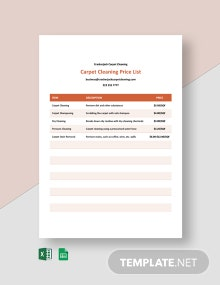 Carpet Cleaning Prices List Template