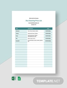 Dry Cleaning Price List Template