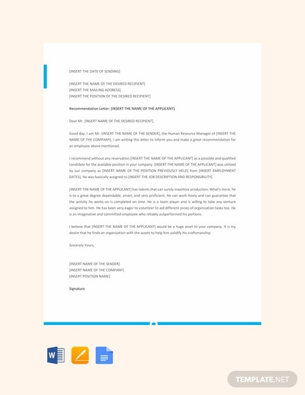 Free Letter Template of Recommendation for Employee