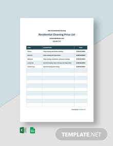 Free Residential Cleaning Price List Template