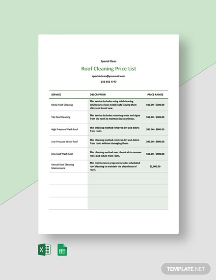 Roof Cleaning Price List Template