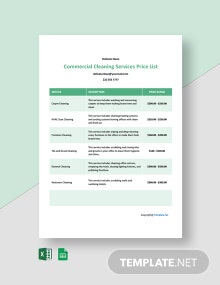 Free Commercial Cleaning Services Price List Template