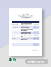 Free Sample Cleaning Service Price List Template