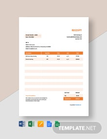 Free Sample Cleaning Service Receipt Template