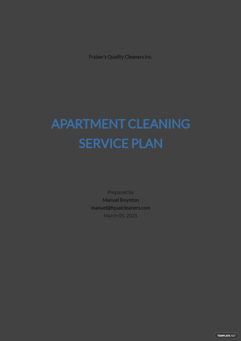 Apartment Cleaning Service Plan Template