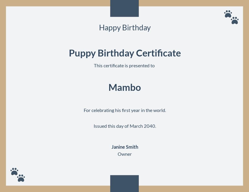 Puppy Birthday Certificate Template.jpe